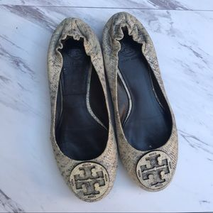 Tory Burch Reva Flats Python Print Brown Cream